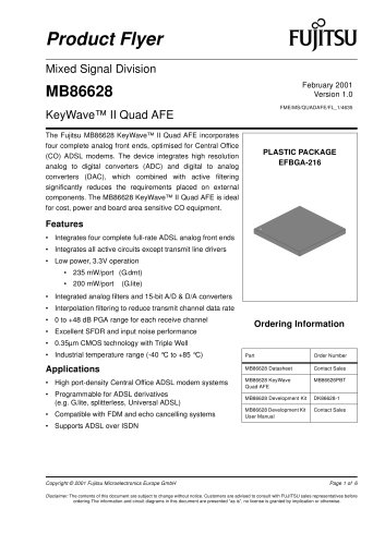 ADSL modem products: MB86628 Product Flyer