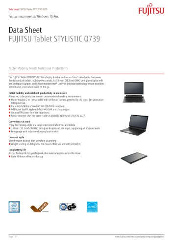 FUJITSU Tablet STYLISTIC Q739