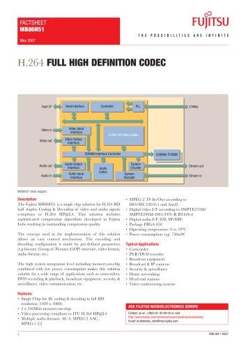 H.264 CODEC factsheet