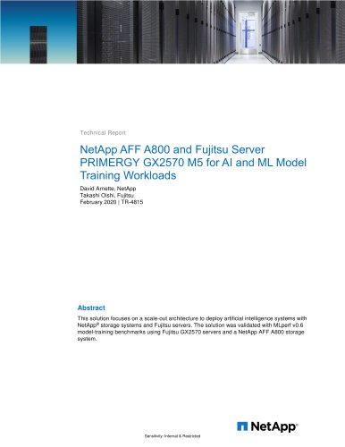 NetApp AFF A800 and Fujitsu Server - PRIMERGY GX2570 M5 for AI and ML Model Training Workloads