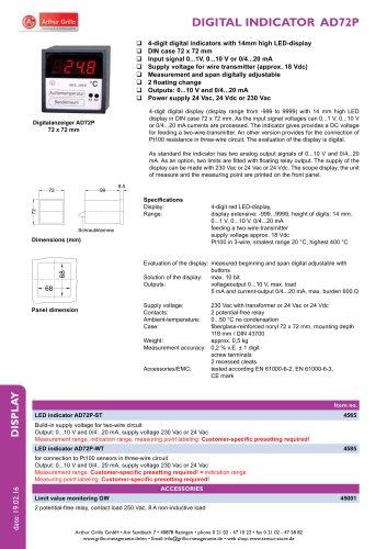 AD-72P / AD72P-ST / AD72P-WT - digital indicator