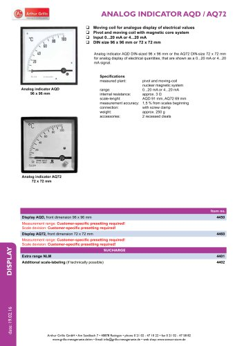 AQD / AQ72 - analog indicator