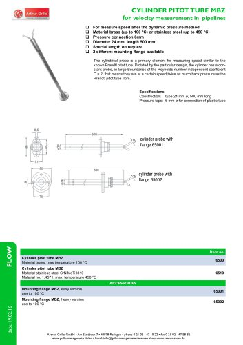 cylinder pitot tube MBZ - cylinder pitot tube MBZ for velocity measurement in pipelines