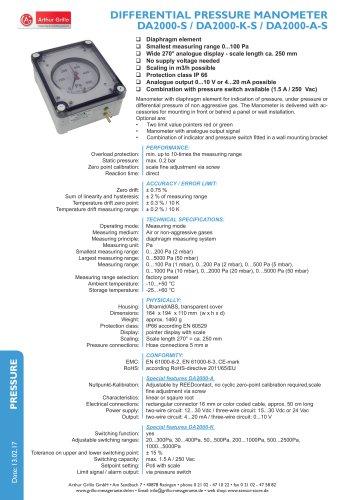 data sheet DA2000 protected series