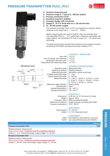 data sheet PU21 / PI21