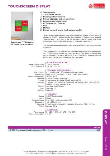 data sheet touchscreen