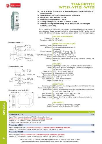 data sheet WT225, VT225, WF225