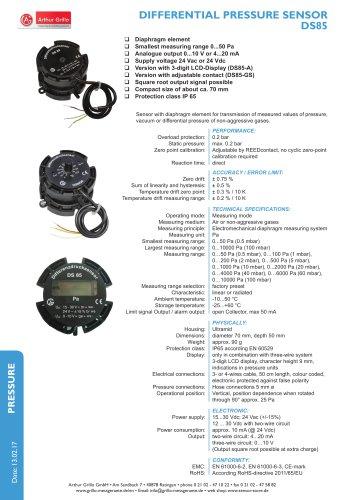 Differential pressure sensor DS85