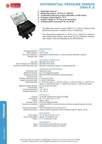 Differential pressure sensor DS85PE