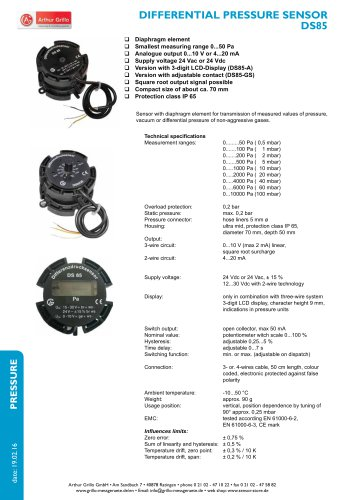DS85 - differential pressure sensor