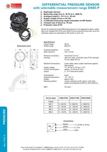 DS85-P - differential pressure sensor with selctable measurement range