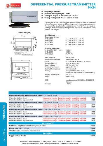 MKM - differential pressure transmitter