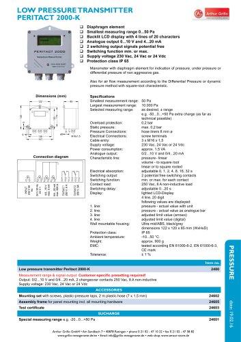 Peritact 2000-K - Low pressure transmitter