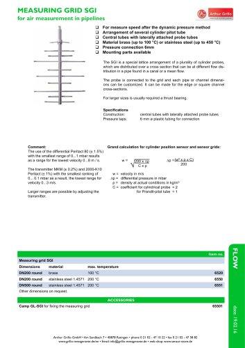 SGI - measuring grid for air measurement in pipelines