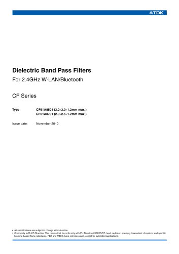 Dielectric Band Pass Filters CF61A8501