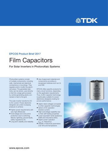 Film Capacitors for Solar Inverters in Photovoltaic Systems