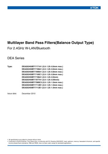 Multilayer Band Pass Filters(Balance Output Type) For 2.4GHz W-LAN/Bluetooth