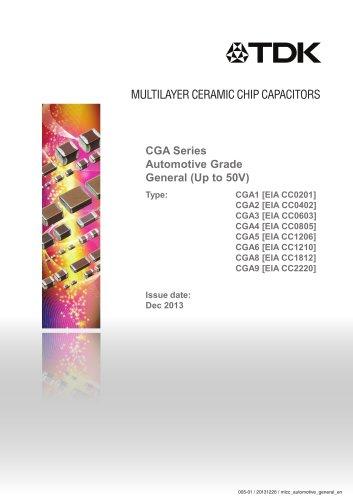 Multilayer Ceramic Chip Capacitor CGA Series Automotive Grade General (Up to 50V)