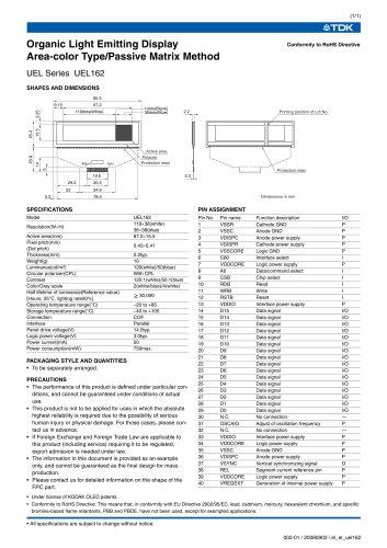 Organic Light Emitting Displays UEL162