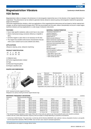Pi Type Ferrite Magnetostrictive Vibrators