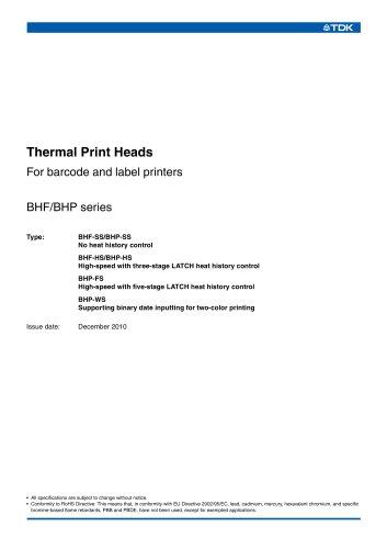 Thermal Print Heads BHF/BHP series