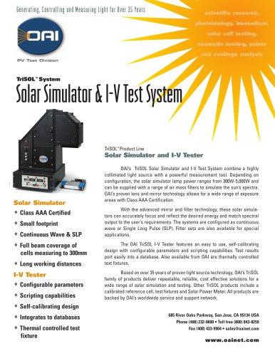 TriSOL Class AAA Solar Simulator