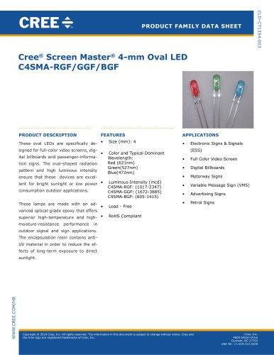 4-mm Oval LED Lamps C4SMA