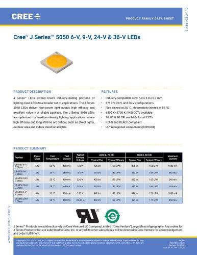 Cree® J Series™ 5050 6-V, 9‑V, 24‑V & 36‑V LEDs
