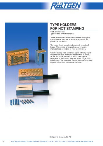 Type Holders for hot Stamping