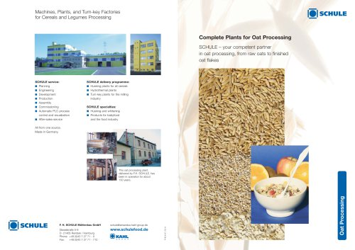 Complete Plants for Oat Processing