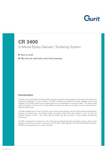 CR 3400 - In-Mould Epoxy Gelcoat / Surfacing System (v11)