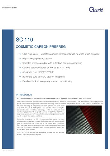 SC 110 Cosmetic Carbon Prepreg - Datasheet (v9)