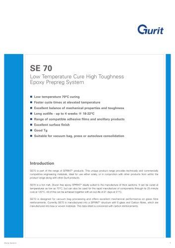 SE 70 - Low Temperature Cure High Toughness Epoxy Prepreg System (v6)