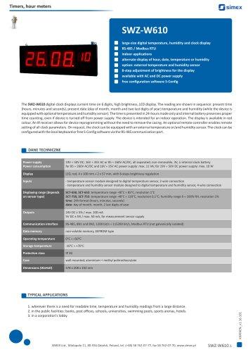 Digital clock SWZ-W610 datasheet