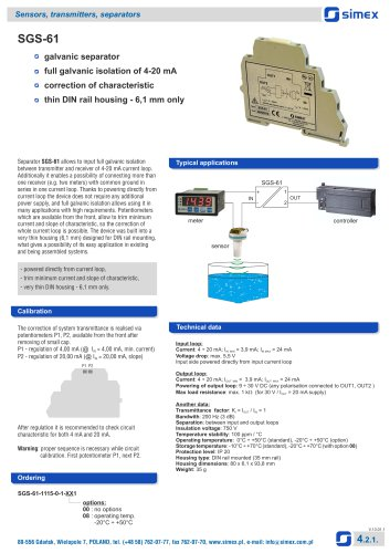Galvanic separator SGS-61 datasheet