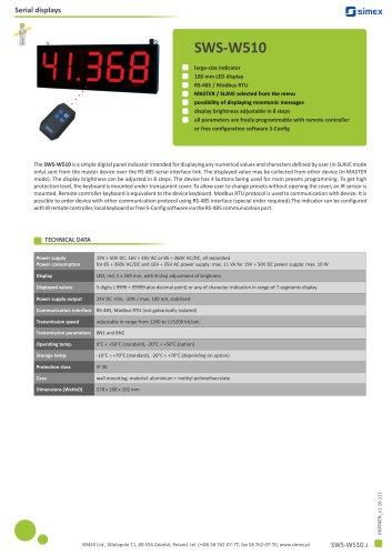 Large-size indicator SWS-W510 datasheet