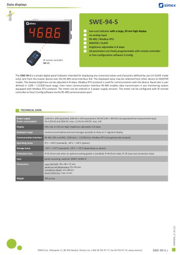 Low-cost indicator SWE-94-S datasheet