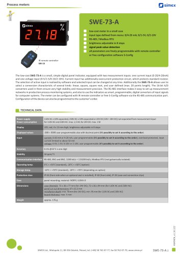 Low-cost meter SWE-73-A datasheet