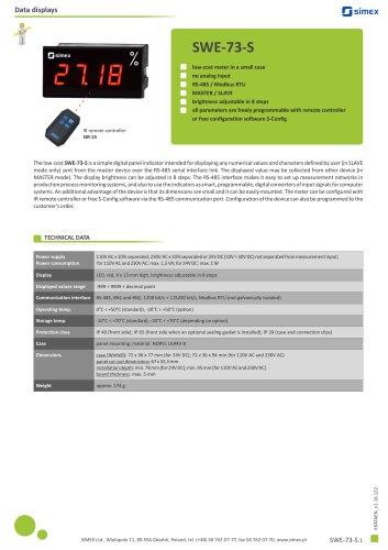 Low-cost meter SWE-73-S datasheet