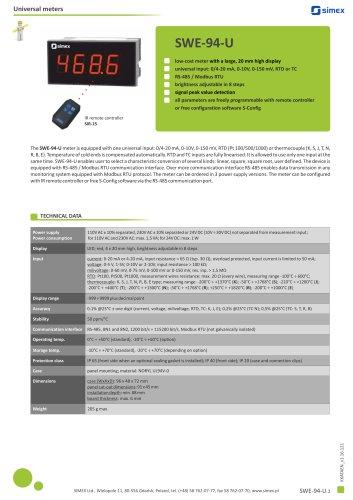 Low-cost universal meter SWE-94-U datasheet