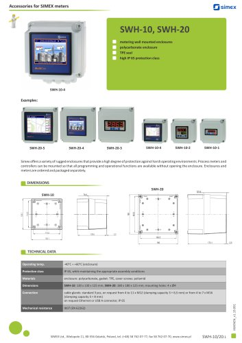 Metering wall mounted enclosures - SWH-10/20 accessories datasheet