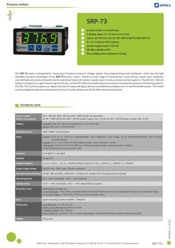 Process meter SRP-73 datasheet