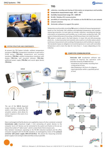 Temperature and humidity recording TRS system datasheet