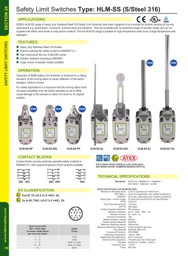 HLM-SS-Ex Stainless Steel 316 Explosion Proof Limit Switches
