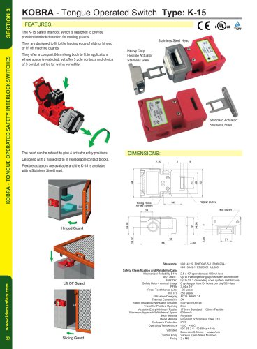 K-15 & K-15-SS: Tongue Switches