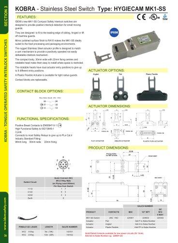 MK1-SS Compact Tongue Interlock Safety Switch