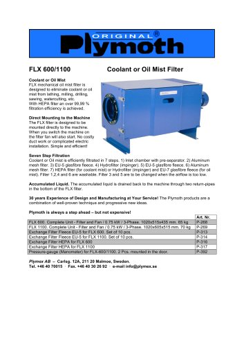 FLX 600/1100 Coolant or Oil Mist Filter