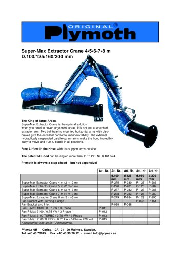 Super-Max Extractor Crane 4•5•6•7•8 m D.100/125/160/200 mm