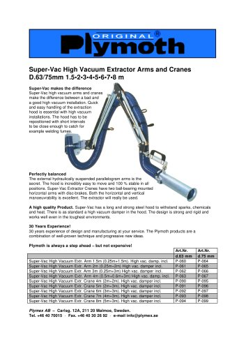 Super-Vac High Vacuum Extractor Arms and Cranes