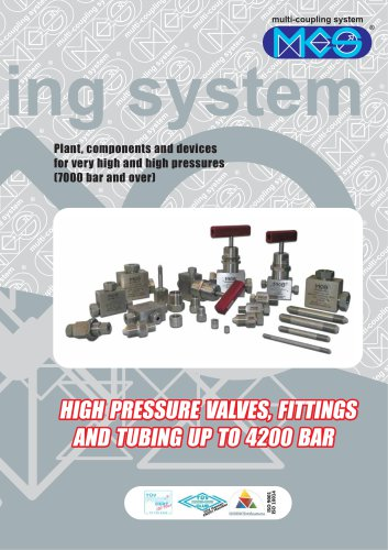 Valves fittings and tubing 2000- 4200 bar